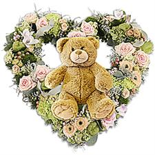 Flowers heart with bear